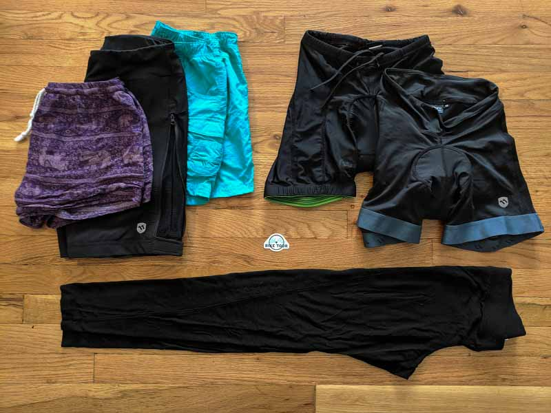 bike tour packing list - bottoms