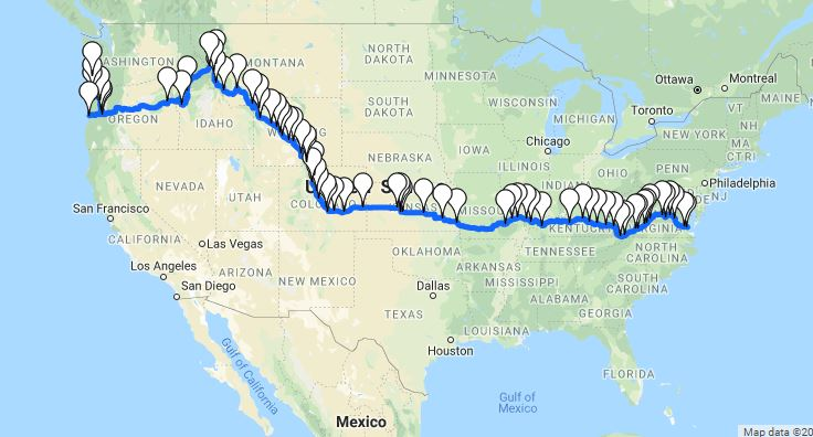 Transamerica route map