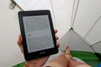 reading in a tent